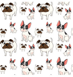 Seamless background design with pug dogs vector