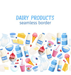 seamless border dairy products vector image