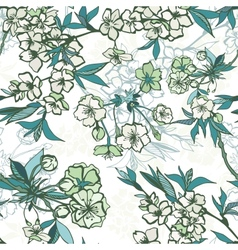 Seamless floral pattern with blossoming cherry or vector