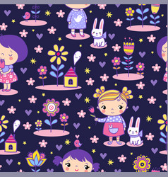 seamless pattern with a cute little girl vector image