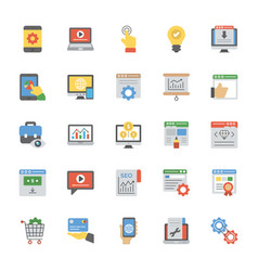 Seo and web optimization flat icons set vector