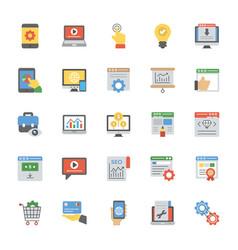 seo and web optimization flat icons set vector image
