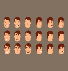 Set of avatars male characters people faces man vector