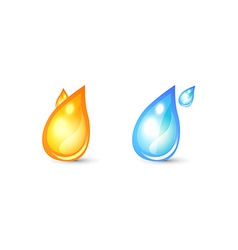 Set of icon for logo with drop shape vector image vector image