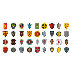 shield icon set flat style vector image