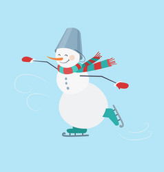 skating snowman wearing a striped scarf and a vector image
