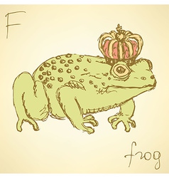 Sketch fancy frog in vintage style vector image