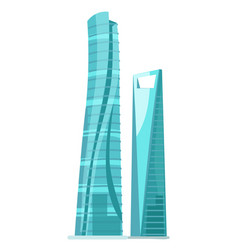 skyscraper two glass buildings isolated on white vector image