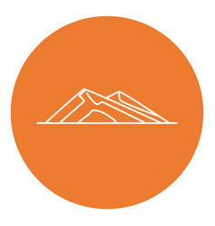 Sloping hills icon in thin line style vector