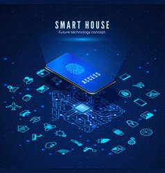 smart house concept smartphone with fingerprint vector image