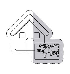 sticker monochrome contour house with frame map of vector image