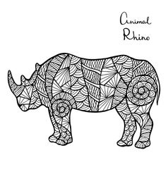 Stylized Rhino zentangle isolated on white vector