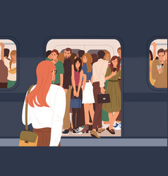 Subway car crowded with people in rush hour woman vector