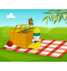 Summer picnic with park landscape cartoon basket vector image
