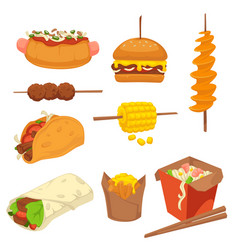 Tasty fresh fast food products with high calories vector