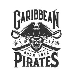 tshirt print with pirate skull mascot in tricorn vector image