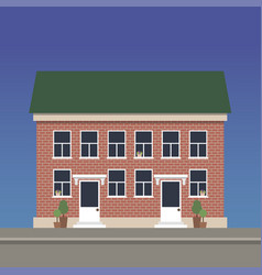 two-story apartment house made of red brick with vector image