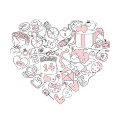 Valentine icon set freehand drawing vector
