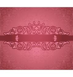 Vintage pink frame on damask background vector