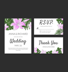 wedding invitation thank you rsvp card design vector image