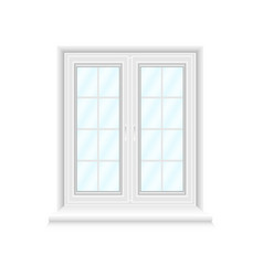 white double window frame on white background vector image