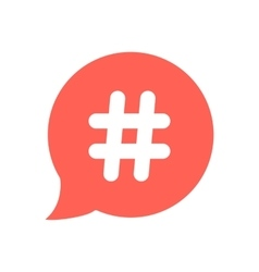 white hashtag icon in red speech bubble vector image
