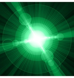 White shining circles and stars green background vector image