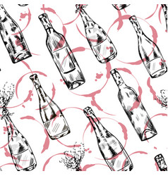 wine champagne bottle seamless pattern vector image