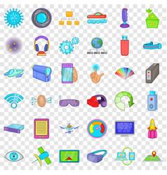 wireless technology icons set cartoon style vector image
