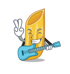 With guitar penne pasta character cartoon vector