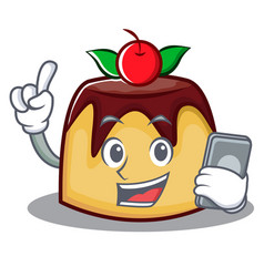 With phone pudding character cartoon style vector
