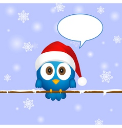Cute blue christmas bird vector image vector image