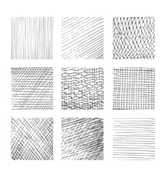 Hatching textures cross lines canvas pattern vector