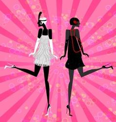 two girls dancing vector image vector image