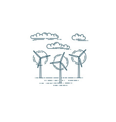 wind generator turbines and clouds vector image vector image