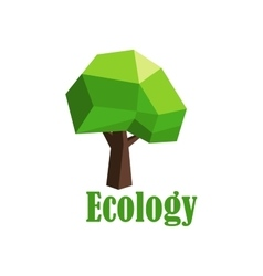 Green tree icon with polygonal crown vector image