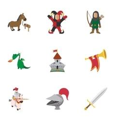 Knight icons set cartoon style vector image
