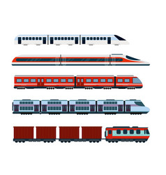 set of modern passenger trains vector image