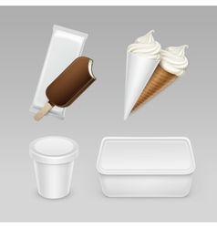 Set of popsicle ice cream waffle cone with box vector