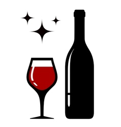 wine glass and bottle with star vector image vector image