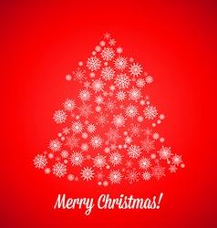 Christmas tree made of random snowflakes vector image vector image