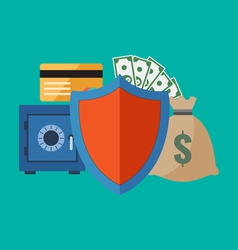 Financial security concept Flat design stylish vector image