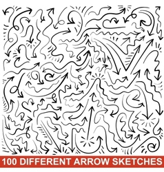 Set of hand drawn arrow sketches black graphic vector