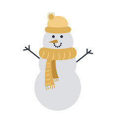snowman isolated on white in yellow cap and scarf vector image vector image