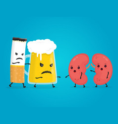 alcohol and smoke kill kidneys stop drink vector image