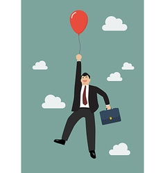 Businessman flying with red balloon vector image