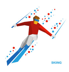 Skiing - cartoon skier running downhill vector