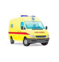 yellow ambulance van with caduceus sign vector image