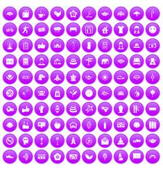 100 yoga studio icons set purple vector
