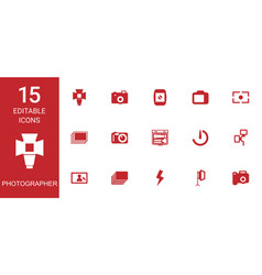 15 photographer icons vector image
